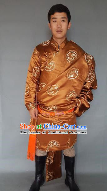 Chinese Traditional Zang Nationality Costume Golden Brocade Tibetan Robe, China Tibetan Ethnic Clothing for Men
