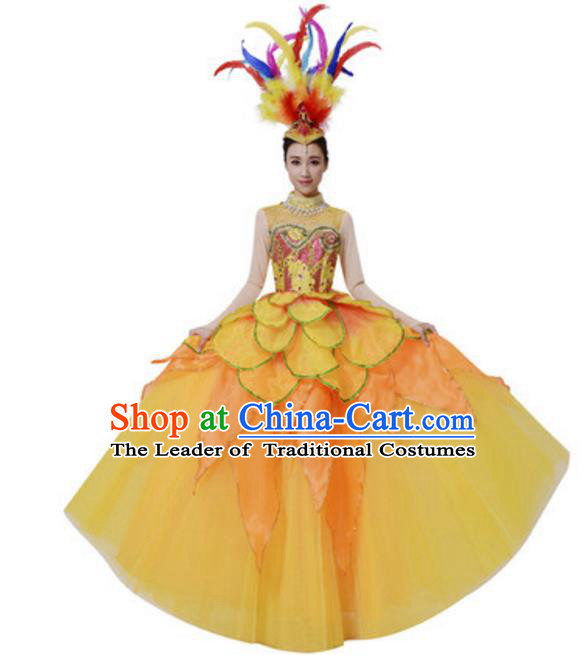 Top Grade Chinese Classical Dance Yellow Dress Stage Performance Lotus Dance Costume for Women