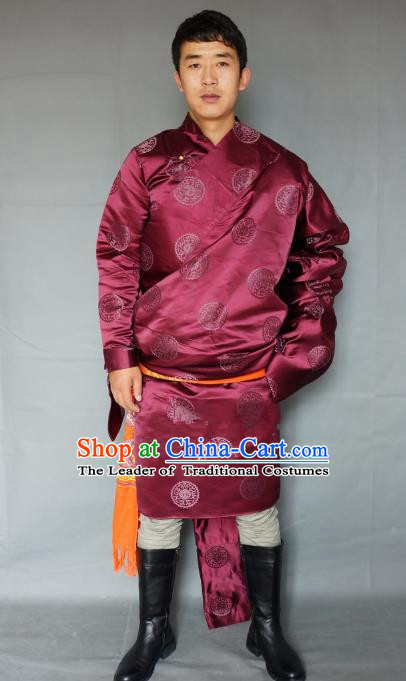Chinese Traditional Zang Nationality Costume Red Satin Tibetan Robe, China Tibetan Ethnic Clothing for Men