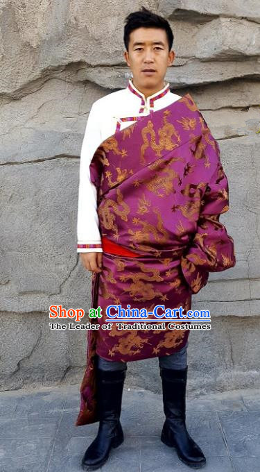 Chinese Traditional Zang Nationality Costume, China Tibetan Ethnic Purple Dragons Brocade Robe for Men