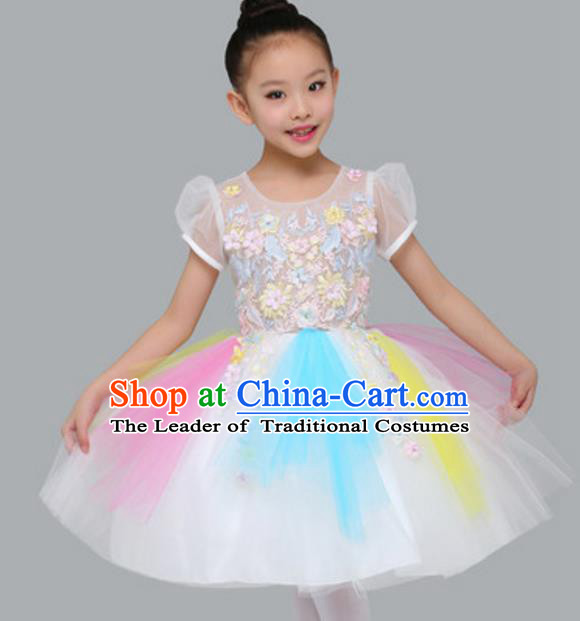 Top Grade Modern Dance White Bubble Dress Stage Performance Chorus Costume for Kids