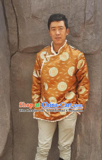 Chinese Traditional Zang Nationality Costume Golden Cotton-padded Jacket, China Tibetan Ethnic Clothing for Men
