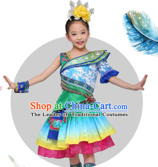 Chinese Traditional Miao Nationality Children Clothing, China Hmong Minority Folk Dance Costume and Headpiece for Kids