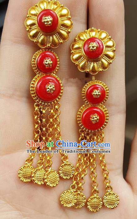 Traditional Chinese Zang Nationality Accessories Golden Earrings China Tibetan Tel Eardrop For Women