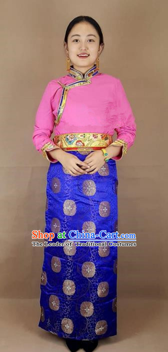 Chinese Traditional Zang Nationality Clothing Royalblue Bust Skirt, China Tibetan Ethnic Heishui Dance Costume for Women