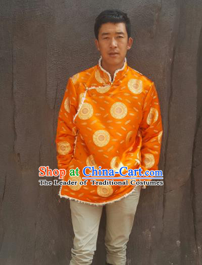 Chinese Traditional Zang Nationality Costume Yellow Cotton-padded Jacket, China Tibetan Ethnic Clothing for Men