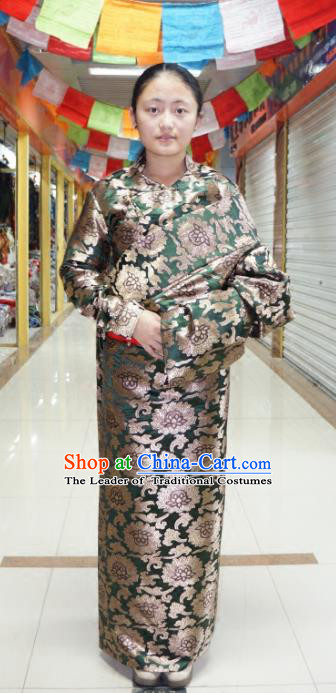 Chinese Traditional Zang Nationality Green Dress Clothing, China Tibetan Ethnic Heishui Dance Costume for Women