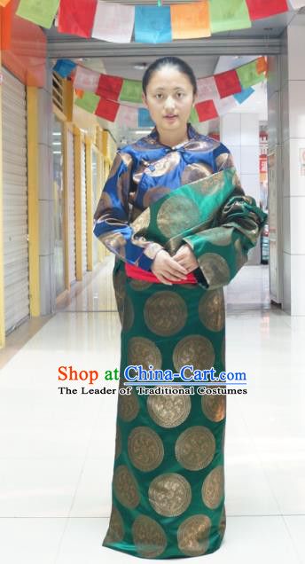 Chinese Traditional Zang Nationality Green Tibetan Robe, China Tibetan Ethnic Heishui Dance Costume for Women