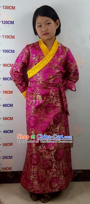 Chinese Traditional Zang Nationality Children Costume, China Tibetan Ethnic Rosy Brocade Dress for Kids
