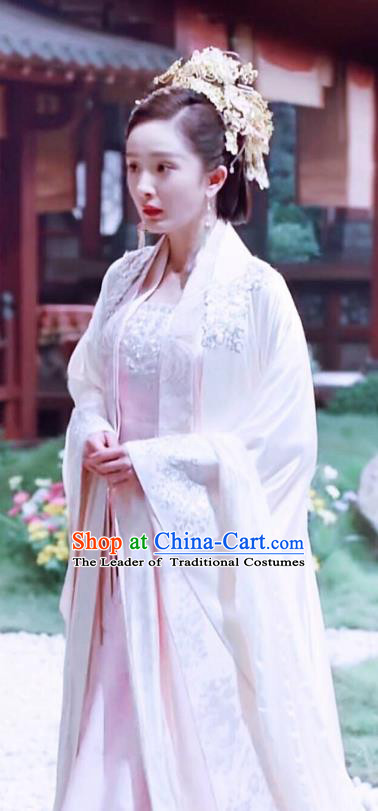 Chinese Ancient Empress Consort Embroidered Hanfu Dress Han Dynasty Palace Queen Historical Costume and Headpiece Complete Set