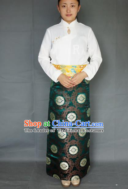 Chinese Traditional Zang Nationality Green Brocade Skirt, China Tibetan Heishui Dance Costume for Women