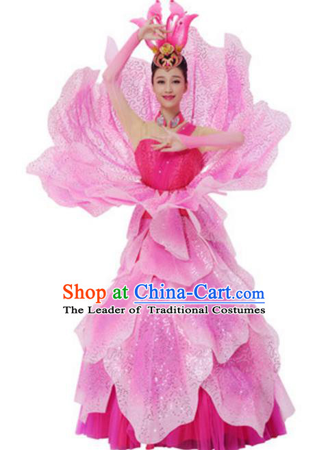 Top Grade Modern Dance Pink Dress Stage Performance Lotus Dance Costume for Women