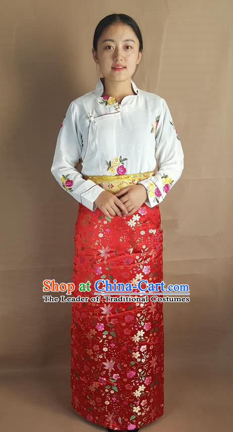 Chinese Traditional Zang Nationality Heishui Dance Costume, China Tibetan Red Brocade Skirt for Women