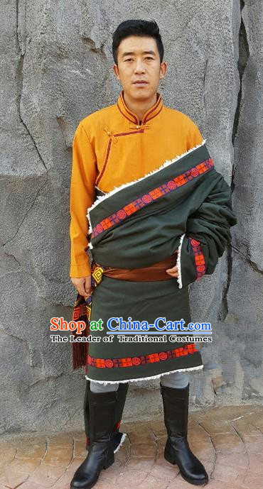 Chinese Traditional Zang Nationality Costume, China Tibetan Ethnic Clothing Atrovirens Tibetan Robe for Men