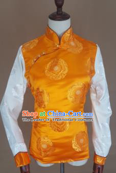 Chinese Traditional Zang Nationality Yellow Brocade Vest, China Tibetan Waistcoat Costume for Women