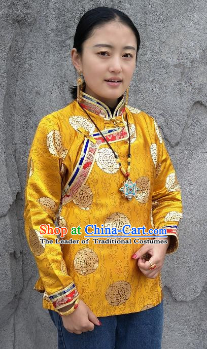 Chinese Traditional Zang Nationality Heishui Dance Costume, China Tibetan Yellow Brocade Shirt for Women