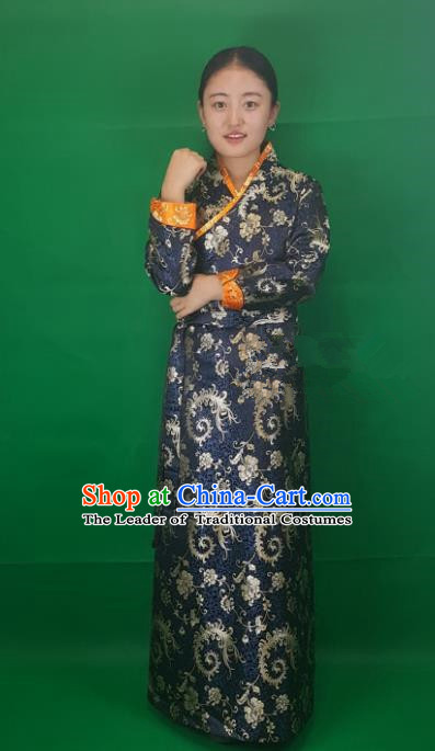 Chinese Traditional Zang Nationality Heishui Dance Costume, China Tibetan Navy Brocade Dress for Women