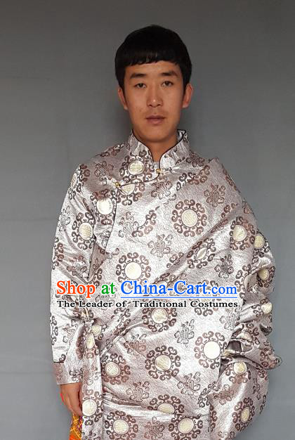 Chinese Traditional Zang Nationality Costume White Tibetan Robe, China Tibetan Ethnic Embroidered Clothing for Men