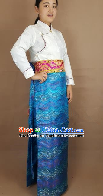 Chinese Traditional Zang Nationality Costume, China Tibetan Heishui Dance Blue Brocade Skirt for Women