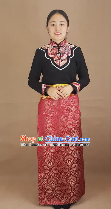 Chinese Traditional Zang Nationality Costume Brocade Bust Skirt, China Tibetan Heishui Dance Clothing for Women