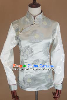 Chinese Traditional Zang Nationality White Brocade Vest, China Tibetan Waistcoat Costume for Women