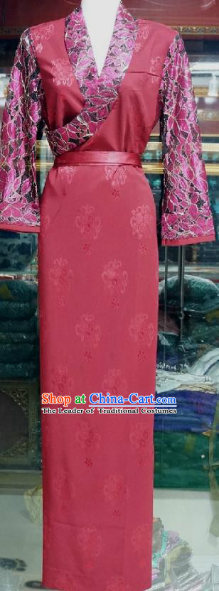 Chinese Traditional Zang Nationality Costume Red Brocade Dress, China Tibetan Heishui Dance Clothing for Women