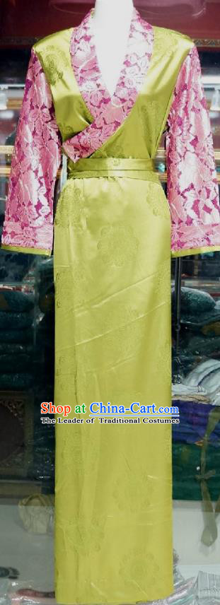 Chinese Traditional Zang Nationality Costume Green Brocade Dress, China Tibetan Heishui Dance Clothing for Women