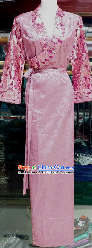 Chinese Traditional Zang Nationality Costume Pink Brocade Dress, China Tibetan Heishui Dance Clothing for Women