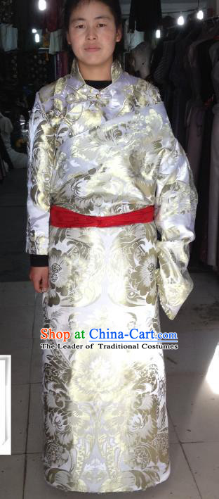 Chinese Traditional Zang Nationality White Brocade Costume, China Tibetan Heishui Dance Clothing for Women