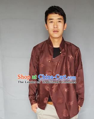 Chinese Traditional Zang Nationality Costume Brown Shirts, China Tibetan Ethnic Upper Outer Garment Clothing for Men