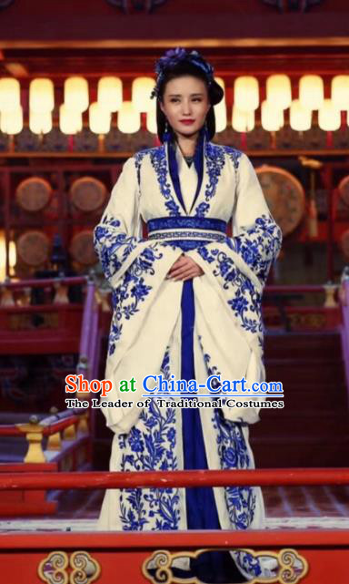 Chinese Ancient Dowager Hanfu Dress Han Dynasty Queen Historical Costume for Women