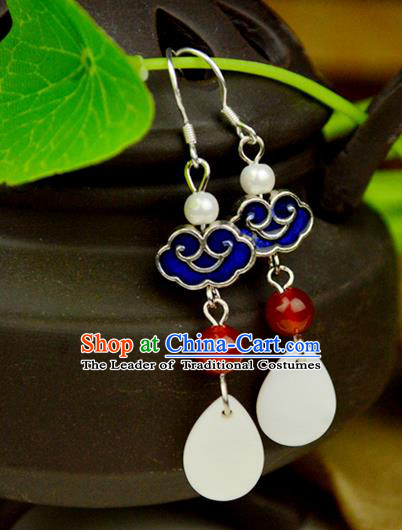 Chinese Traditional Ancient Earrings Accessories Hanfu Cloisonne Eardrop for Women
