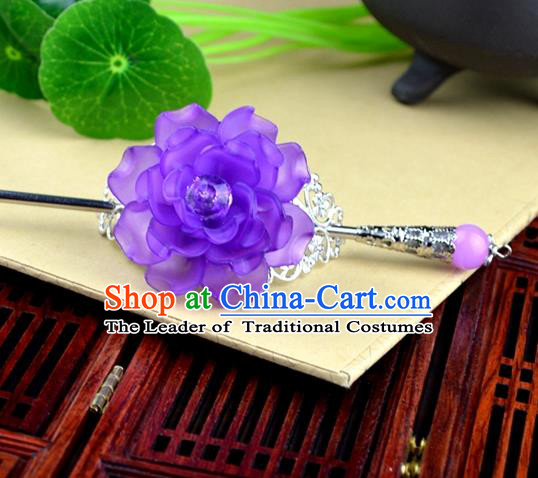Chinese Traditional Ancient Hair Accessories Hanfu Hairpins Purple Peony Hairdo Crown Headwear for Women