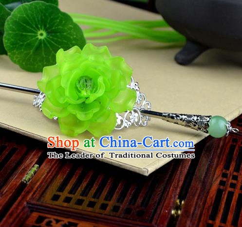 Chinese Traditional Ancient Hair Accessories Hanfu Hairpins Green Peony Hairdo Crown Headwear for Women