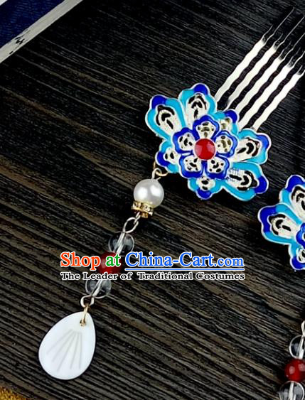 Chinese Traditional Ancient Hair Accessories Hanfu Hairpins Cloisonne Blueing Lotus Tassel Hair Combs Headwear for Women