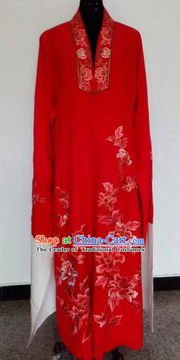 Chinese Traditional Beijing Opera Costumes China Peking Opera Niche Printing Peony Red Robe for Adults