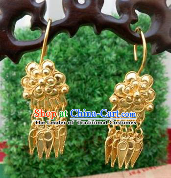 Chinese Traditional Ornaments Accessories Ancient Miao Minority Golden Tassel Earrings for Women
