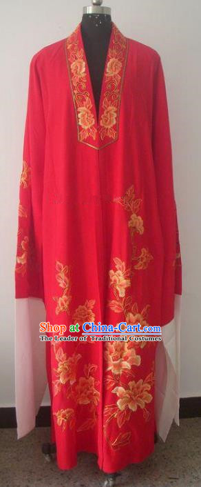Chinese Traditional Beijing Opera Printing Peony Costumes China Peking Opera Niche Silk Robe for Adults