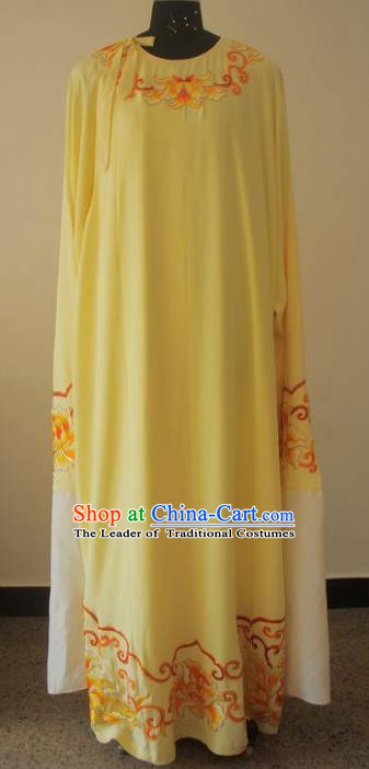 Chinese Traditional Beijing Opera Embroidered Yellow Costumes China Peking Opera Niche Silk Robe for Adults