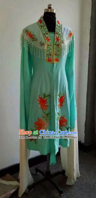 Chinese Traditional Beijing Opera Actress Costumes China Peking Opera Embroidered Chrysanthemum Blue Dress for Adults