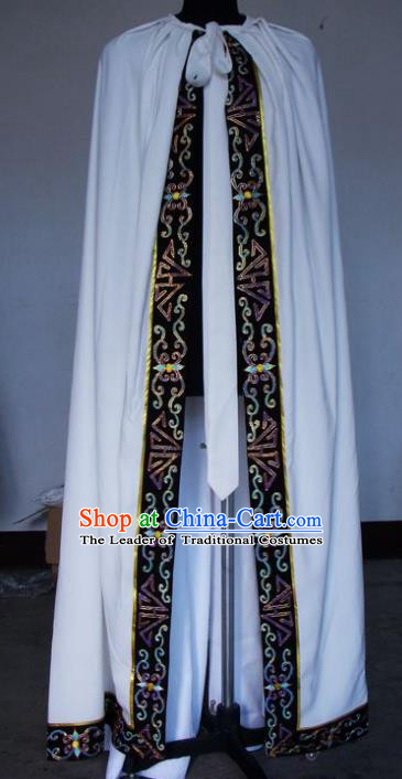Chinese Traditional Beijing Opera Niche Costumes China Peking Opera White Cloak for Adults