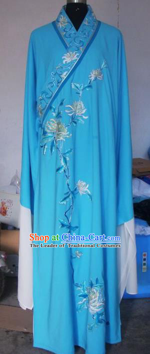 Chinese Traditional Beijing Opera Niche Costumes China Peking Opera Scholar Embroidered Chrysanthemum Blue Clothing for Adults
