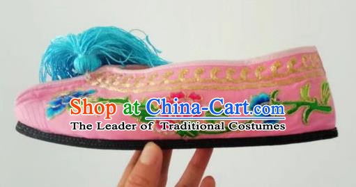 Chinese Traditional Embroidered Shoes Beijing Opera Pink Blood Stained Shoes for Women