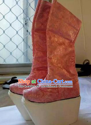 Chinese Traditional Pink Boots Beijing Opera Diva Shoes for Women