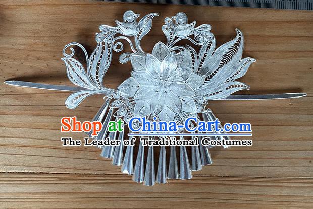 Chinese Traditional Ancient Princess Flower Tassel Hairdo Crown Hairpins Hair Accessories for Women