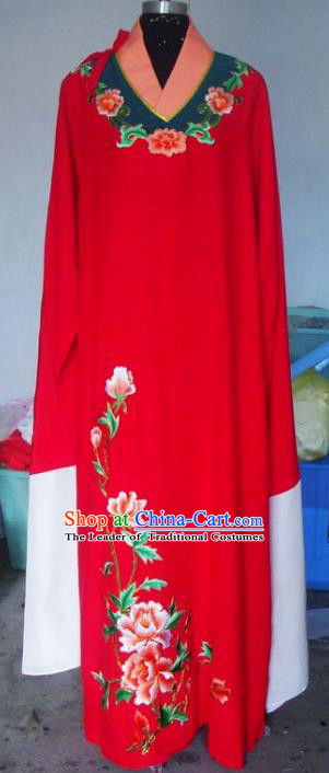 Chinese Traditional Beijing Opera Scholar Costumes China Peking Opera Niche Embroidered Peony Red Clothing for Adults