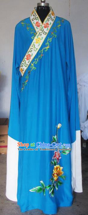 Chinese Traditional Beijing Opera Scholar Costumes Niche Embroidered Peony Blue Robe for Adults