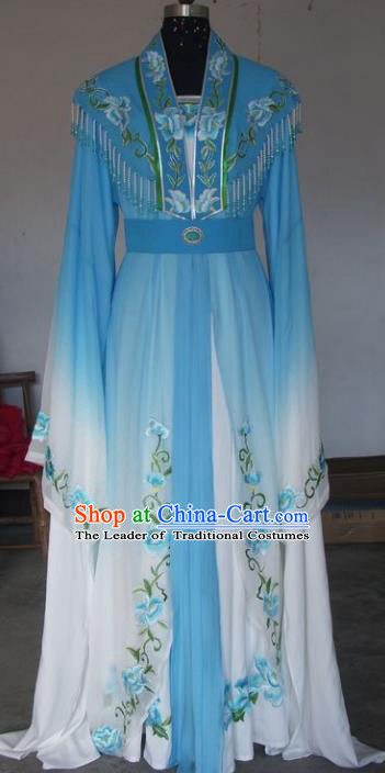 Chinese Traditional Beijing Opera Princess Embroidered Costumes China Peking Opera Actress Blue Dress for Adults