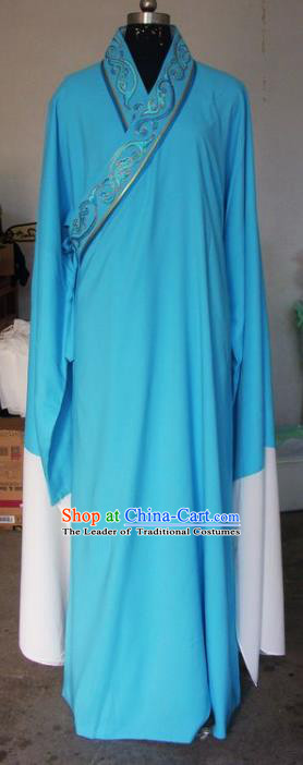 Chinese Traditional Beijing Opera Scholar Costumes Niche Embroidered Water Sleeve Robe for Adults