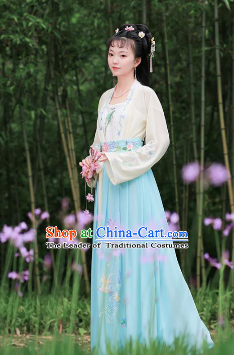 Traditional Chinese Ancient Song Dynasty Princess Hanfu Dress Embroidered Costumes Complete Set for Women